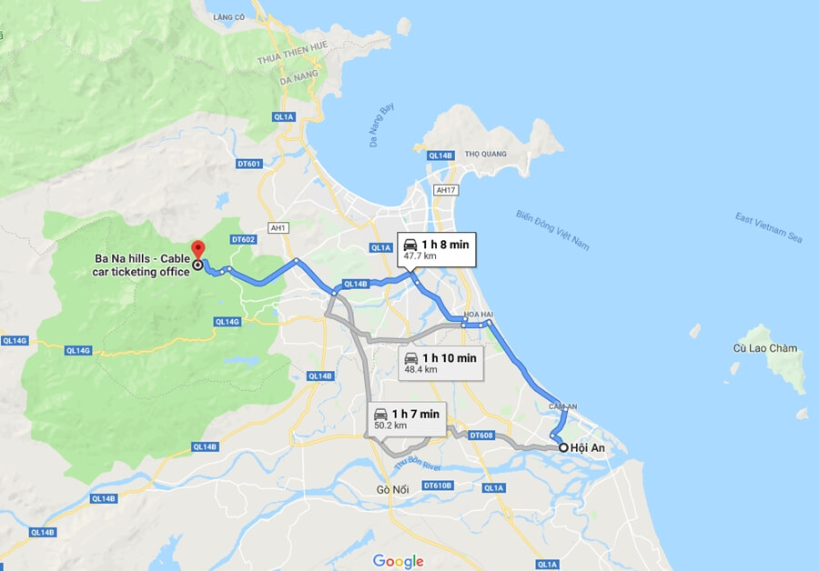 Map from Hoi An to Ba Na Hills