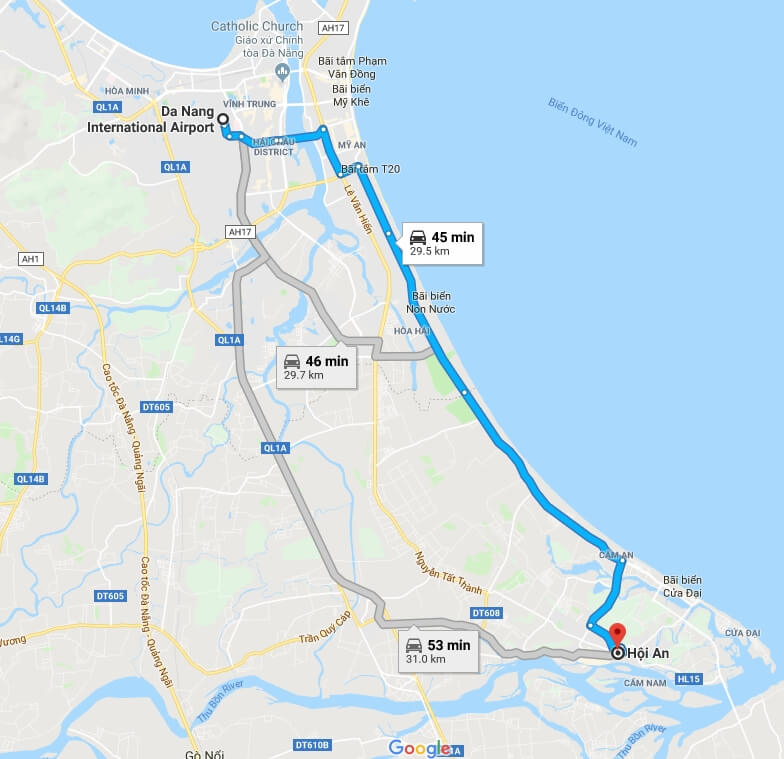 Transfer from Da Nang International airport to Hoi An Map