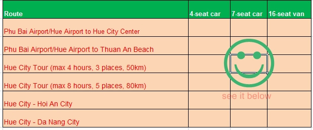 Price table of car hire from Hue city Vietnam