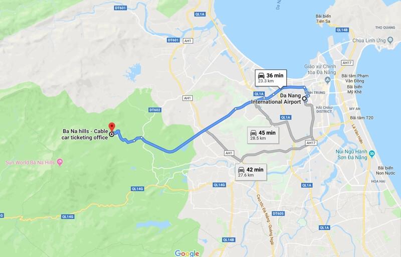 Map from Da Nang International Airport to Ba na Hills
